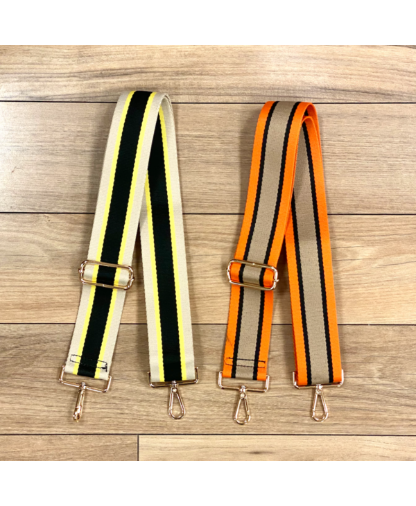 Five Stripe Bag Strap - Gold Hardware