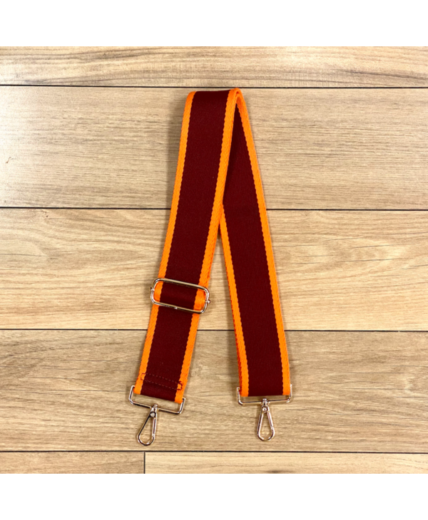 Two Color Stripe Cotton Bag Strap - Gold Hardware
