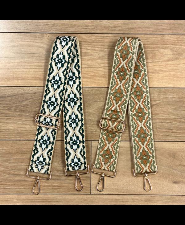 Embroidered Bag Strap - Gold Hardware