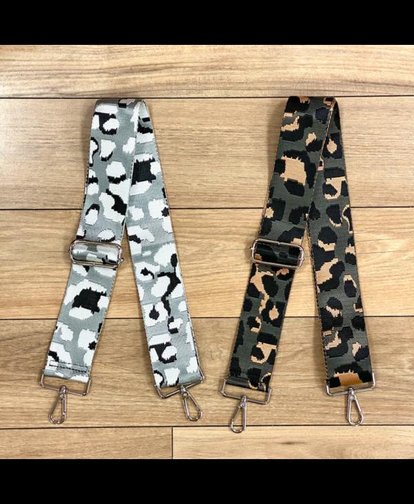 Leopard Print Bag Strap - Silver Hardware