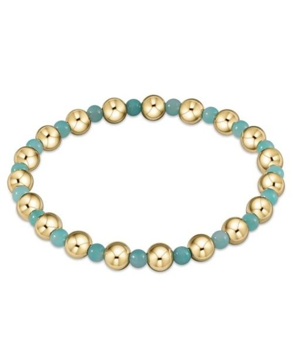 Classic Gold and Amazonite Bracelet Grateful Pattern in 6mm Beads