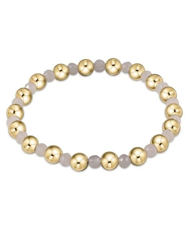 Classic Gold and Moonstone Bracelet Grateful Pattern in 6mm Beads