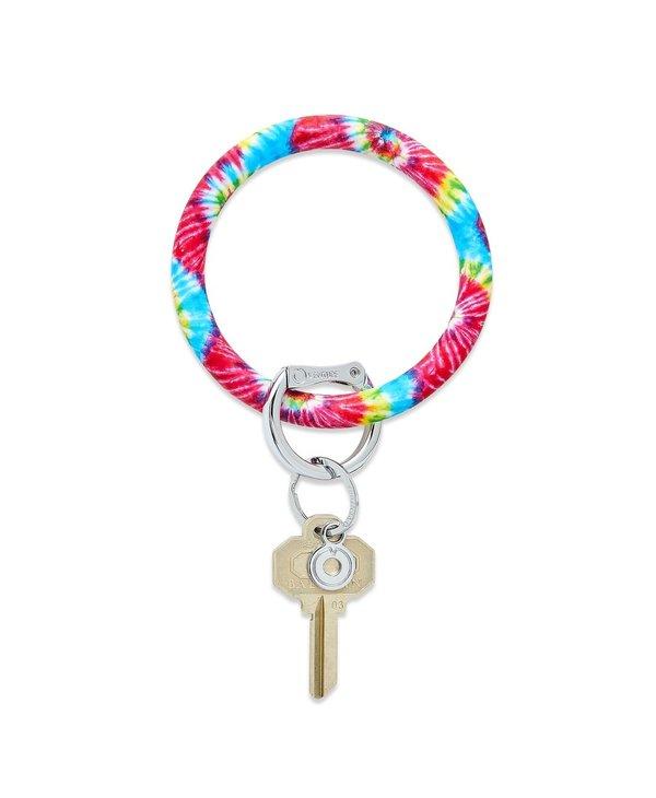 Silicone Big O Key Ring in Rainbow Tie Dye