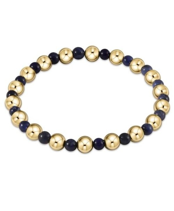 Classic Gold and Sodalite Bracelet Grateful Pattern in 6mm Beads