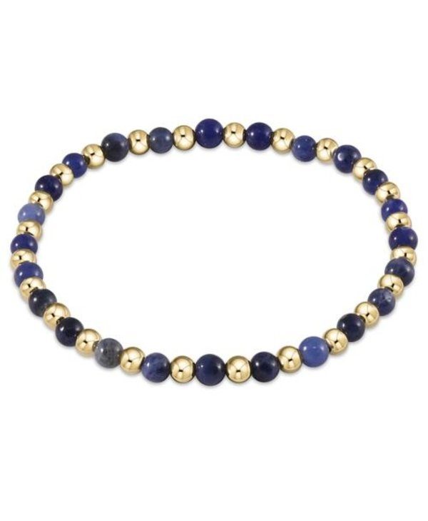 Classic Gold and Sodalite Bracelet Grateful Pattern in 4mm Beads
