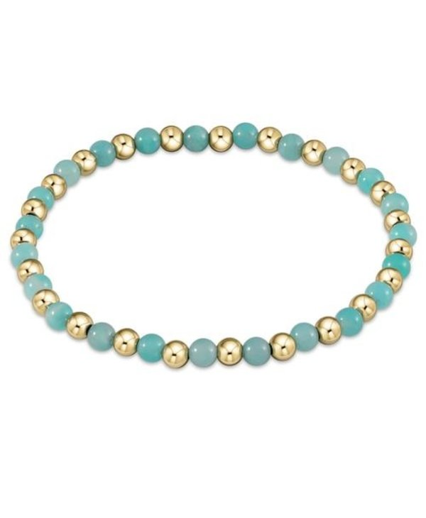 Classic Gold and Amazonite Bracelet Grateful Pattern in 4mm Beads