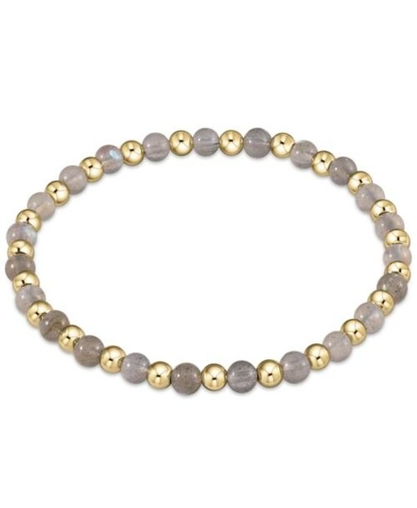 Classic Gold and Labradorite Bracelet Grateful Pattern in 4mm Beads
