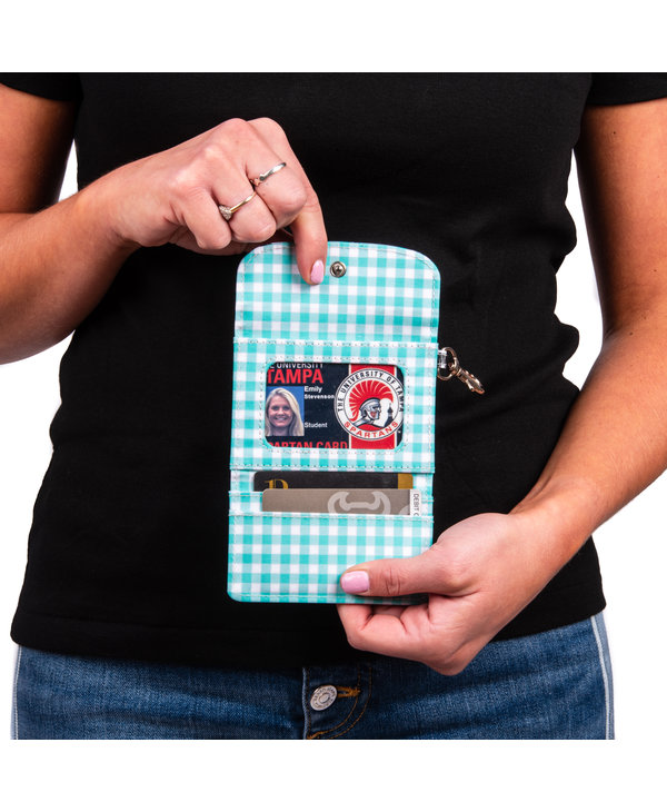 Street Cred Card Holder in Teal Diamond