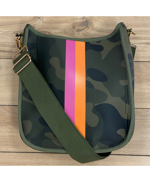 Camouflage Striped Neoprene Messenger Bag with Army Green Strap - Gold Hardware