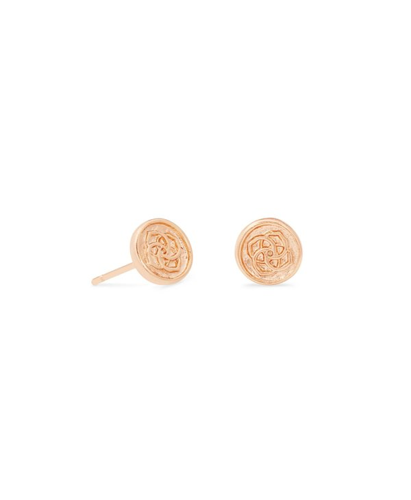 Dira Coin Stud Earrings in Rose Gold