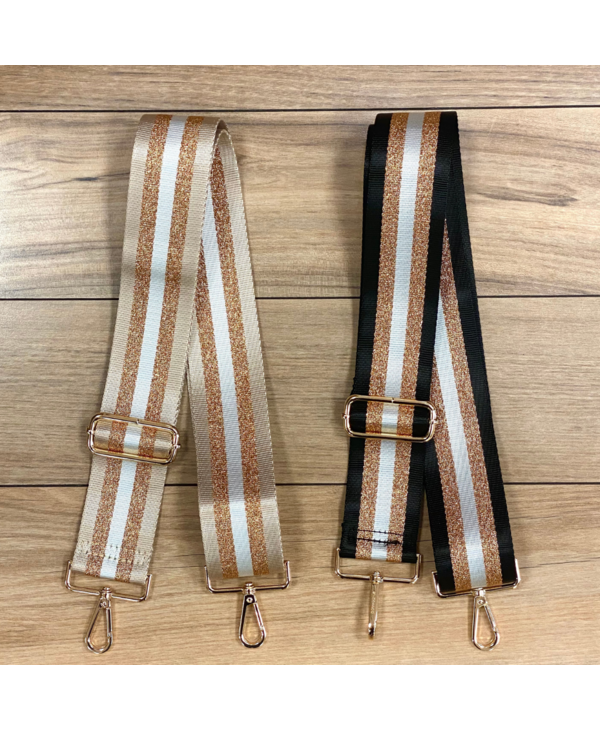 Gold/White Stripe Bag Strap - Gold Hardware