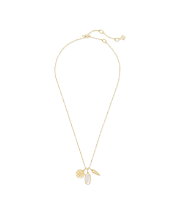Dira Gold Coin Charm Necklace in Ivory Mother-of-Pearl