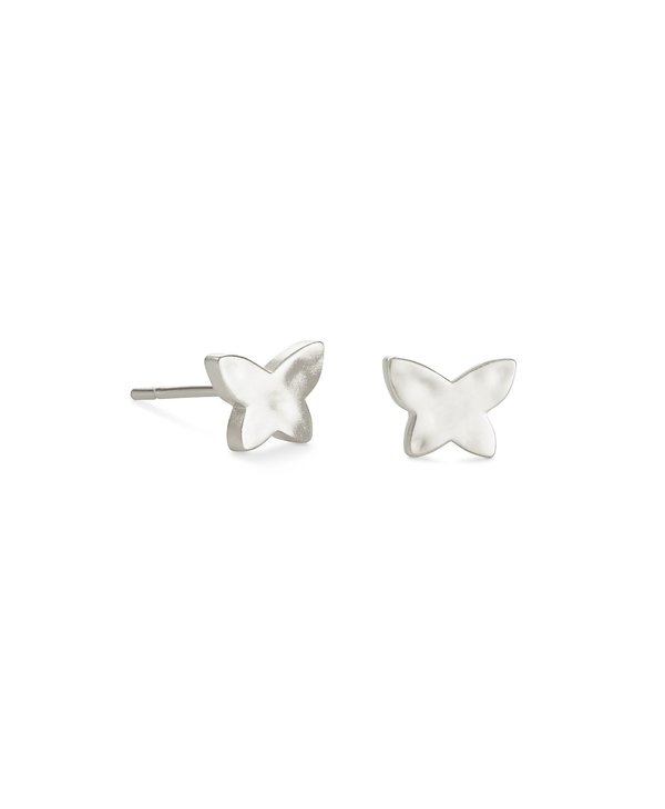 Lillia Butterfly Stud Earrings In Silver