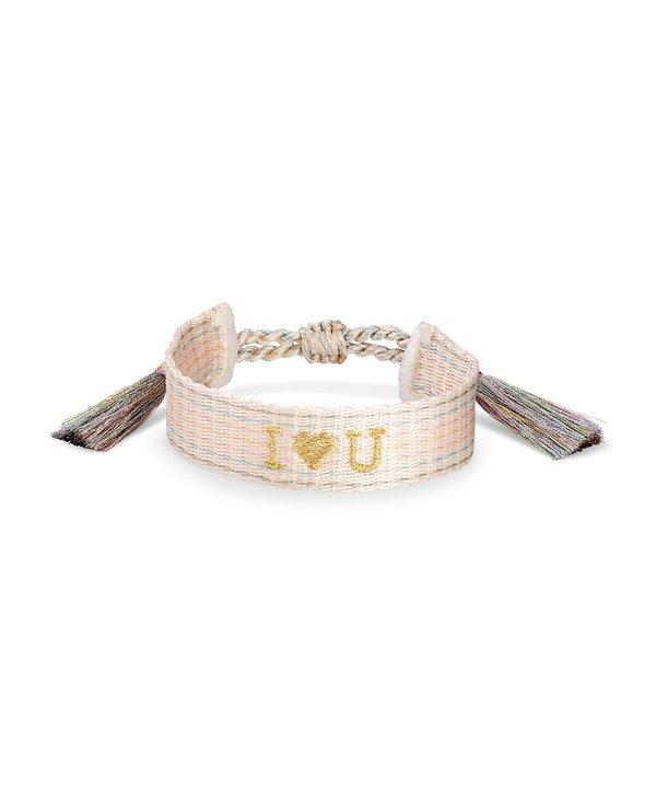 I Heart You Gold Friendship Bracelet In Neutral Pastel Mix
