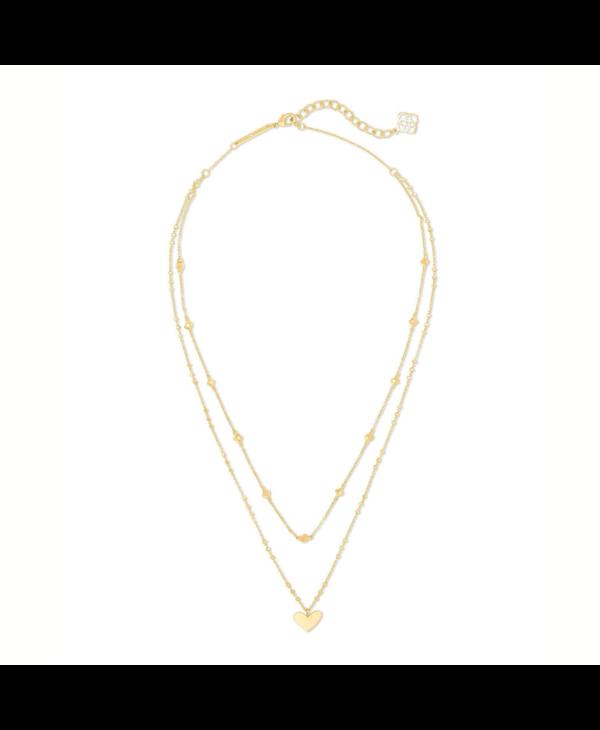 Ari Heart Multi Strand Necklace In Gold