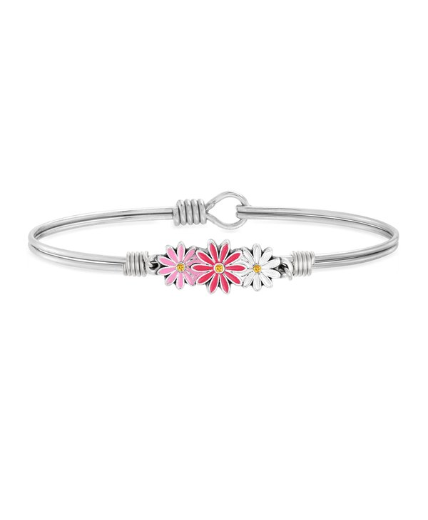 Pink Ombre Daisies Bangle Bracelet in Silver