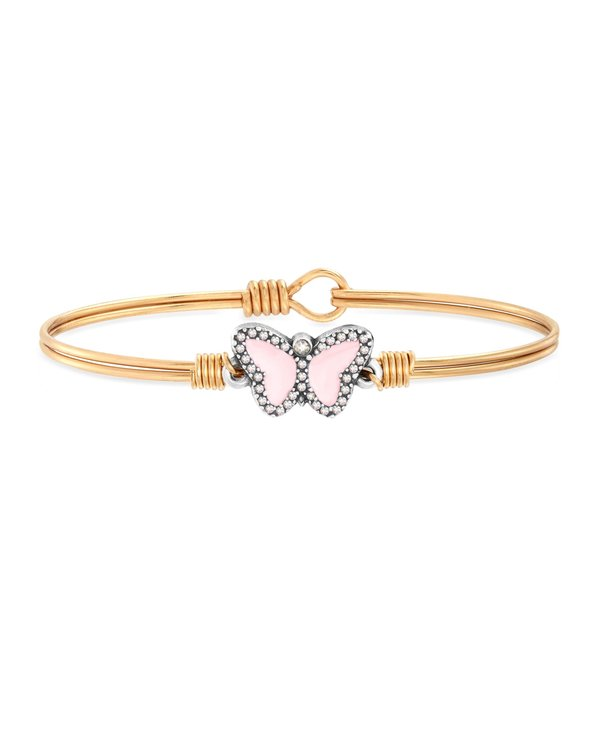 Cotton Candy Pink Crystal Pave Butterfly Bangle Bracelet in Gold