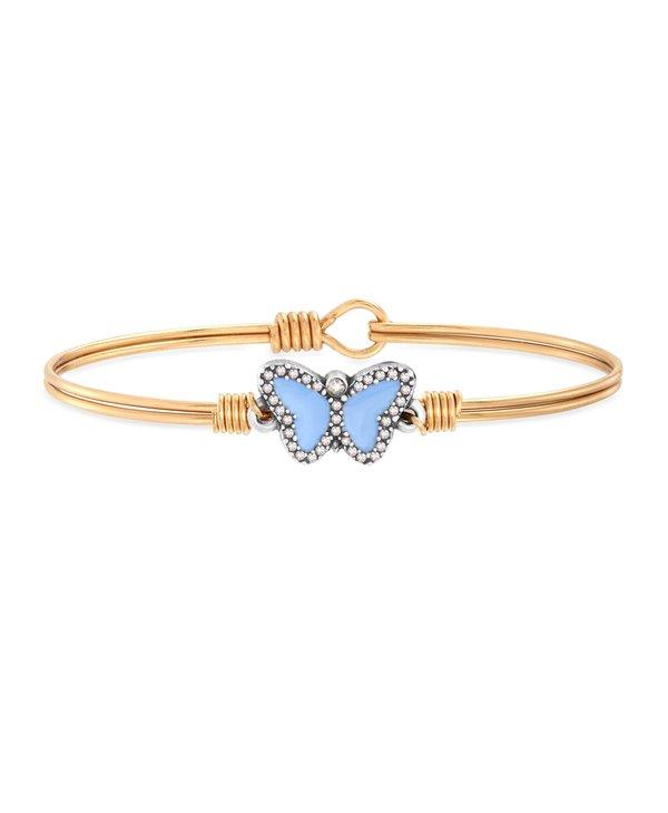 Light Blue Crystal Pave Butterfly Bracelet Bangle in Gold