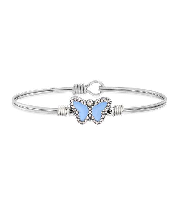 Light Blue Crystal Pave Butterfly Bracelet Bangle in Silver