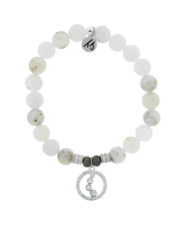 One Step At A Time Bracelet in White Chalcedony & Silver