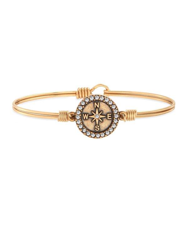 Crystal Pave Compass Bangle Bracelet in Gold