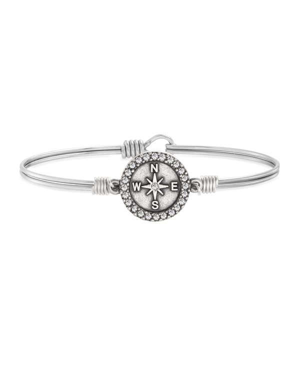 Crystal Pave Compass Bangle Bracelet in Silver