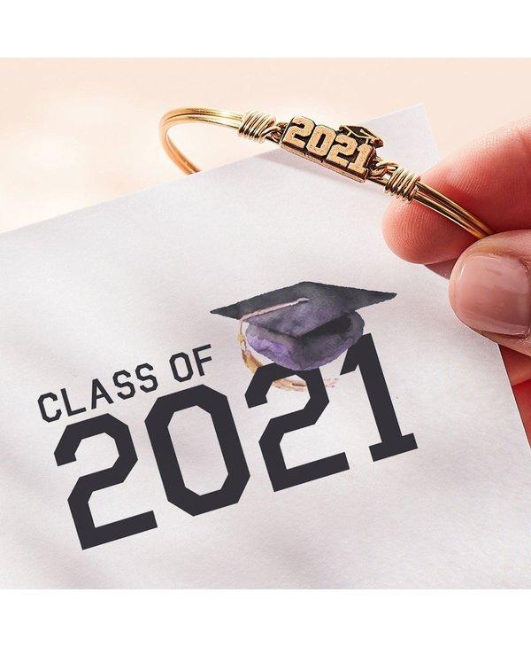 2021 Graduation Bangle Bracelet in Silver