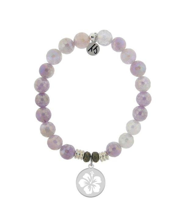 Hibiscus Flower Bracelet in Mauve Jade & Silver
