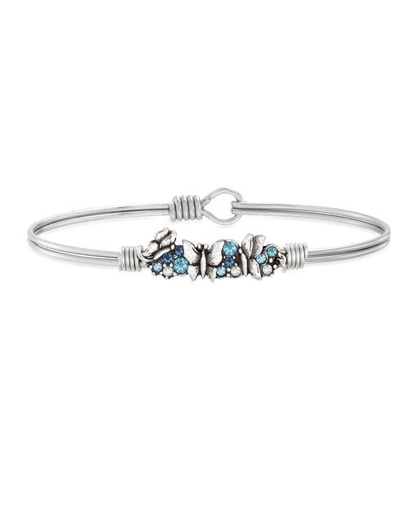 Blue Butterfly Medley Bangle Bracelet in Silver