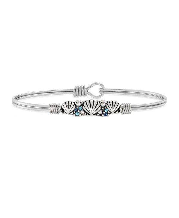Shell Medley Bangle Bracelet in Silver