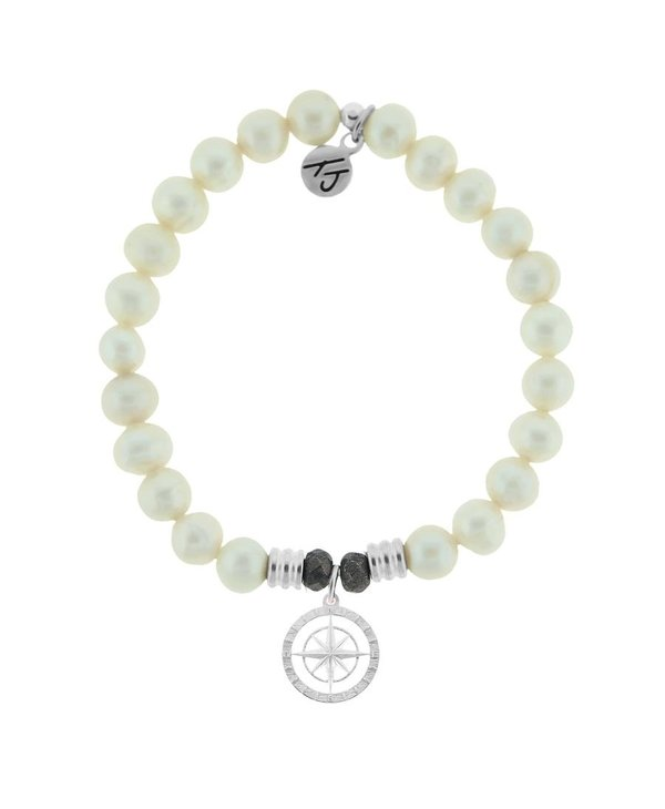 Compass Rose Bracelet in White Pearl & Silver