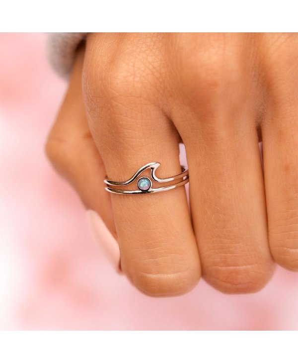 Opal Wave Ring in Silver