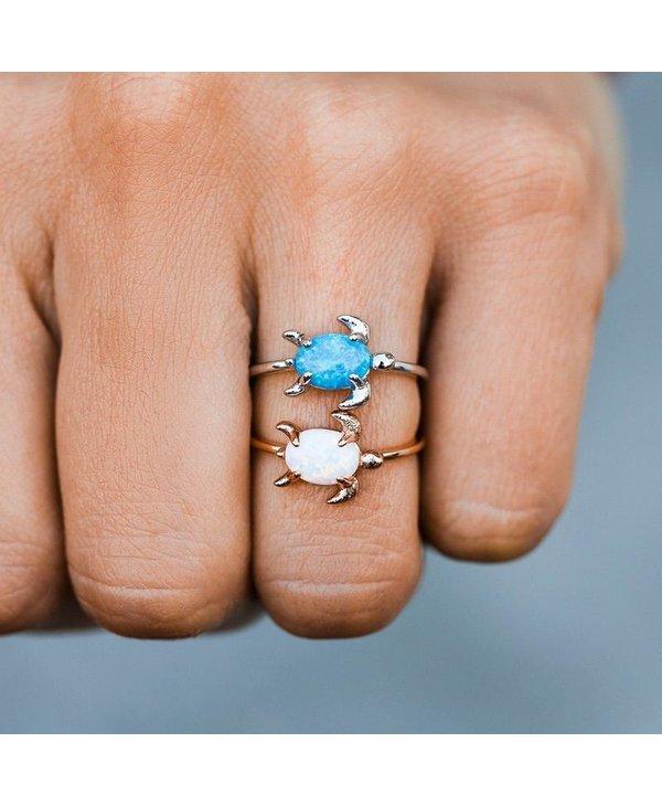 Opal Sea Turtle Ring in Silver