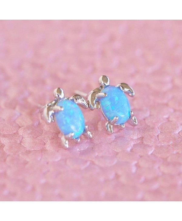 Opal Sea Turtle Earrings in Silver