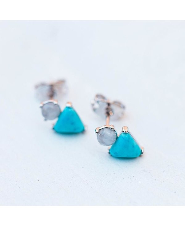 Turquoise & Moonstone Earrings