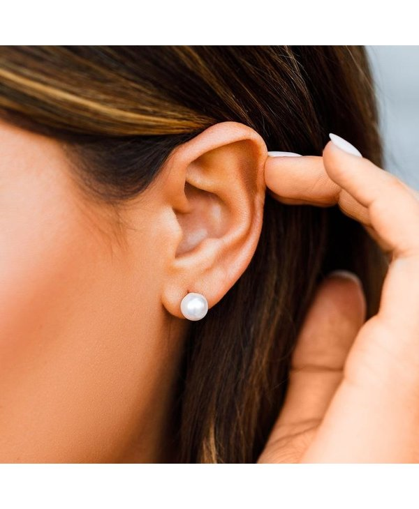 Pearl & Heart Double Sided Stud Earrings