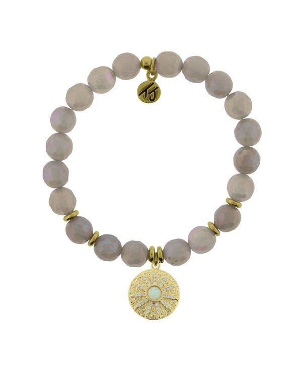 Be The Light Bracelet in Mystic Grey Agate & Gold