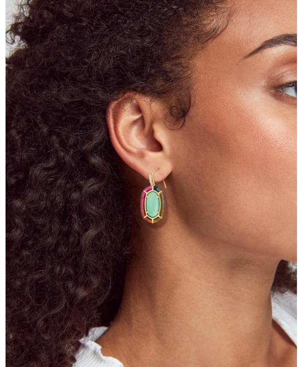 Threaded Lee Gold Drop Earrings In Mint Magnesite
