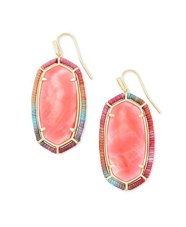 Threaded Elle Gold Drop Earrings In Coral Illusion