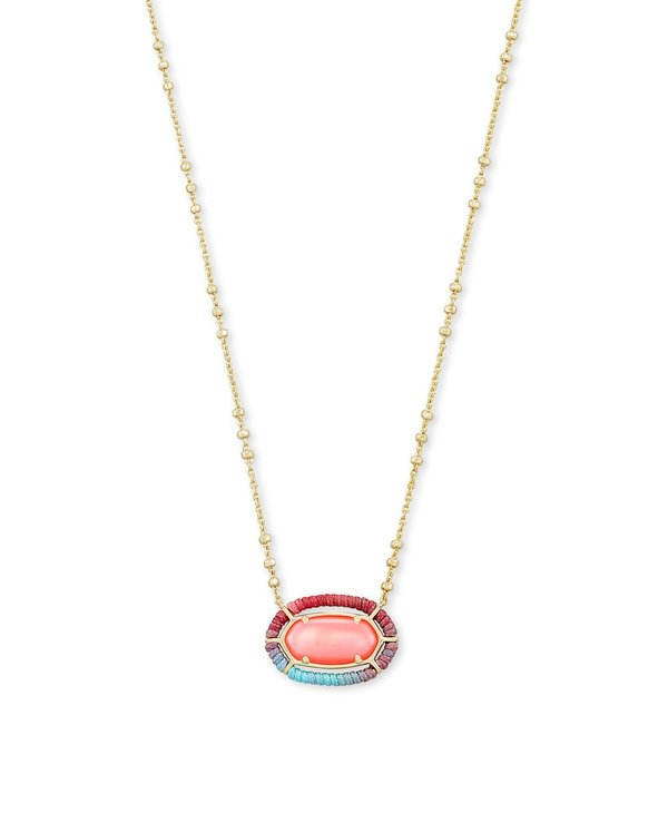 Threaded Elisa Gold Pendant Necklace In Coral Illusion