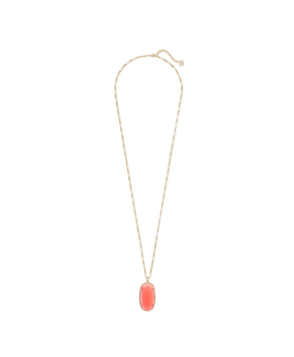 Faceted Reid Long Pendant Necklace In Coral Illusion
