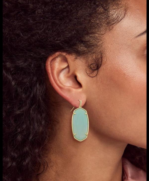 Faceted Elle Drop Earrings In Matte Iridescent Mint Glass