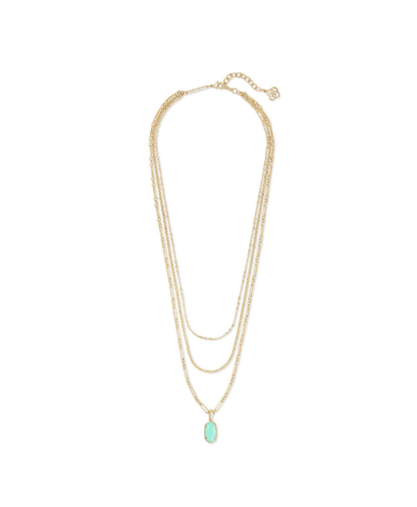 Elisa Gold Triple Strand Necklace In Matte Iridescent Mint Glass