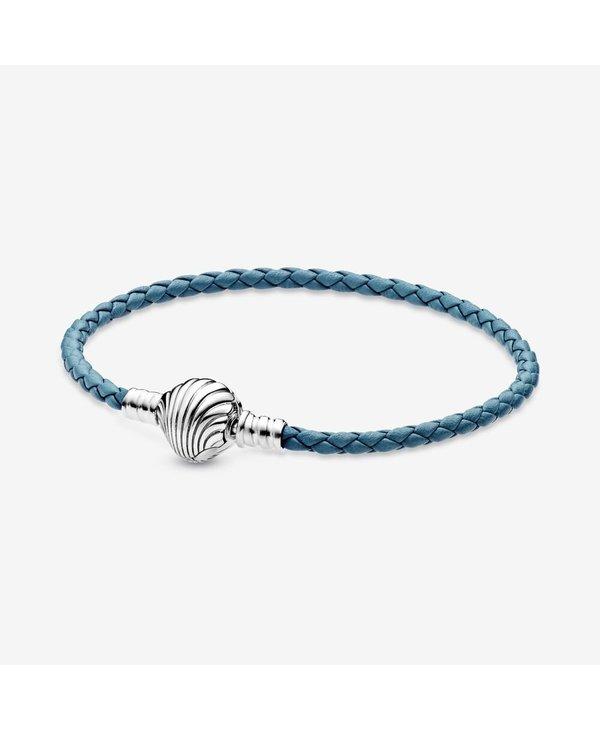 Seashell Clasp Turquoise Braided Leather Bracelet
