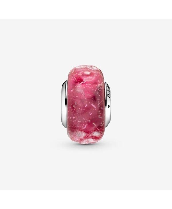 Wavy Fancy Pink Murano Glass Charm