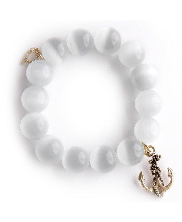 Gold Anchor Bracelet in White Calcite
