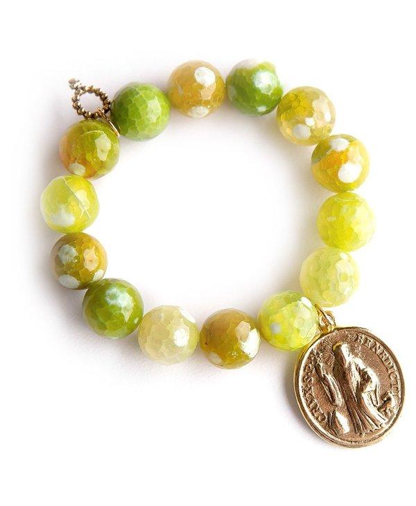 *Exclusive* Gold Saint Benedict Bracelet in Lemon Lime Agate
