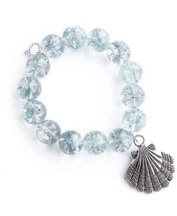 Silver Shell Bracelet in Clearwater Quartz