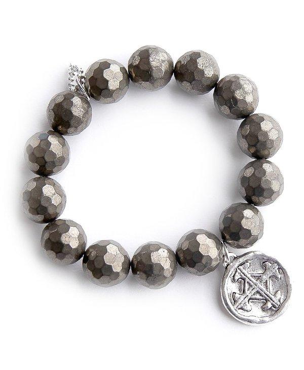 Silver Serenity Prayer Medal Bracelet in Faceted Matte Pyrite