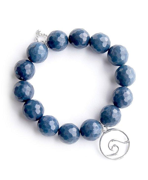 Silver Wave Bracelet in Washed Denim Agate